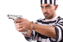 Prisoner with gun Royalty Free Stock Photo
