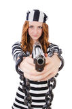 Prisoner with gun Royalty Free Stock Image