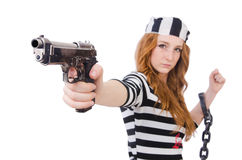 Prisoner with gun Royalty Free Stock Images