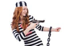 Prisoner with gun isolated Stock Photo