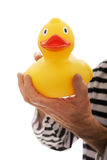 Prisoner hand criminal with rubber duck Royalty Free Stock Photo