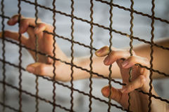 Prisoner hand in jail Royalty Free Stock Images