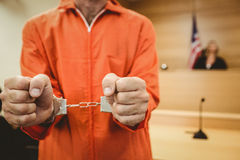 Prisoner in handcuffs clenching fists Stock Photography