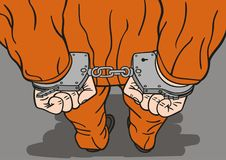 Prisoner in handcuffs. The prisoner is handcuffed and ready to go to jail Royalty Free Stock Photography