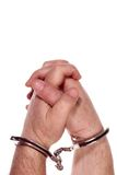 Prisoner hands. Isolated on white stock photo