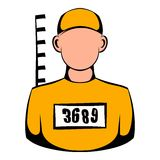 Prisoner in hat with number icon, icon cartoon Stock Photography