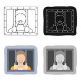 Prisoner icon in cartoon style isolated on white background. Police symbol stock vector illustration. Royalty Free Stock Images