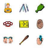 Prisoner icons set, cartoon style Royalty Free Stock Photo