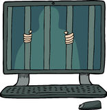 Prisoner Inside a Computer Royalty Free Stock Image