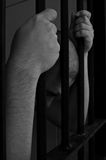 Prisoner in jail. Black and white color Royalty Free Stock Image