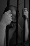 Prisoner in jail. Prisoner man in jail,black and white color Stock Image