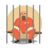Prisoner In Jail Vector. Gangsta Man Arrested And Locked. Flat Cartoon Illustration. Prisoner Man Vector. Criminal Man Arrested And Locked. Isolated Flat Cartoon Stock Photography
