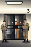 Prisoner in the jail. A vector illustration of prisoner in the jail being guarded by prison guards Stock Photo