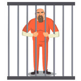 Prisoner Man In Pokey Vector. Outlaw Robber Arrested And Locked. Cartoon Character Illustration. Man In Prison Vector. Bandit Arrested And Locked.  On White Royalty Free Stock Images