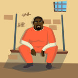 Prisoner Man Vector. Criminal Man Arrested And Locked.  Flat Cartoon Character Illustration Royalty Free Stock Image