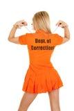 Prisoner orange back arms up handcuffs Royalty Free Stock Image