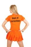 Prisoner orange back look side Royalty Free Stock Images