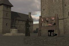Prisoner in pillory in castle courtyard. Prisoner with head and hands restrained in pillory in castle courtyard with cowled monk in the background Stock Photos