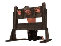Prisoner in pillory. Prisoner with head and hands restrained in pillory isolated on white Royalty Free Stock Image