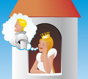 Prisoner princess in tower waiting for rescue Royalty Free Stock Photo