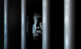 Prisoner and prison cell. Alone in jail behind bars. Felony committed crime or bankrupt. Business criminal serve their sentence in