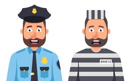 Prisoner in prison striped form on vector illustration