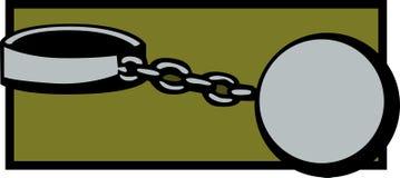 Prisoner shackle and chains. Illustration of a prisoner shackle and chains Royalty Free Stock Photography