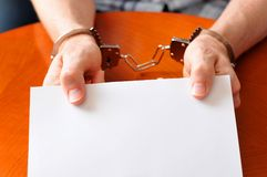 Prisoner. Shows blank card customizable with own message Stock Image
