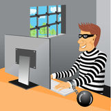 Prisoner sitting in his prison cell Royalty Free Stock Photography