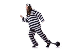 Prisoner in striped uniform Royalty Free Stock Images