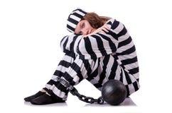 Prisoner in striped uniform Stock Images