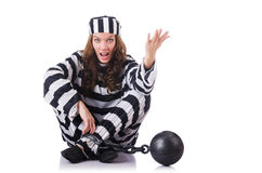 Prisoner in striped uniform. On white royalty free stock image
