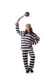 Prisoner in striped uniform Stock Photography