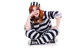 Prisoner in striped uniform Stock Photo