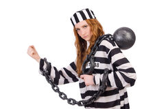 Prisoner in striped uniform Stock Images