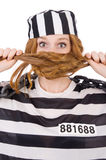 Prisoner in striped uniform Stock Photography