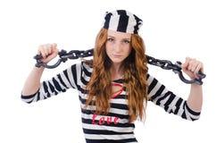 Prisoner in striped uniform Royalty Free Stock Image