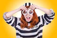Prisoner in striped uniform Stock Photos