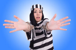 Prisoner in striped uniform Stock Photos