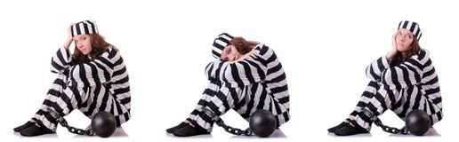 The prisoner in striped uniform on white Stock Images