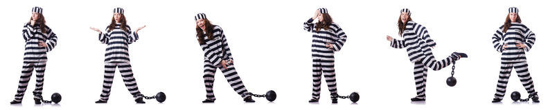 The prisoner in striped uniform on white Royalty Free Stock Image
