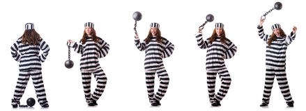 The prisoner in striped uniform on white Royalty Free Stock Photos