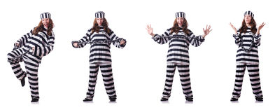 The prisoner in striped uniform on white Royalty Free Stock Photography