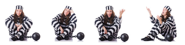 The prisoner in striped uniform on white Royalty Free Stock Photo