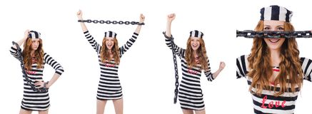 The prisoner in striped uniform on white Stock Photos
