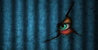 Prisoner and Surveillance Eye. Illustration of surveillance and prisoner concepts with green eye looking through, peeping and watching behind the shadow from vector illustration