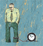 Prisoner of time. A grunge effect illustration of a sad man wearing a shirt and a tie and chained to a clock Royalty Free Stock Photo