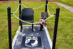 Prisoner of War and Missing In Action Memorial. Elizabethton,Tennessee,USA - April 2, 2019: This POW - MIA memorial sits in the yard of the Carter County royalty free stock photos