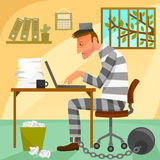Prisoner of work. Depressed worker presented as a prisoner in his office Stock Images