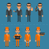 Prisoners and bodyguard in various poses Royalty Free Stock Photo
